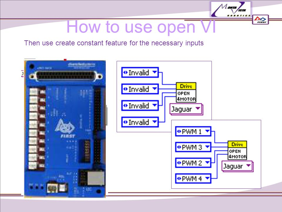 Then use create constant feature for the necessary inputs How to use open VI