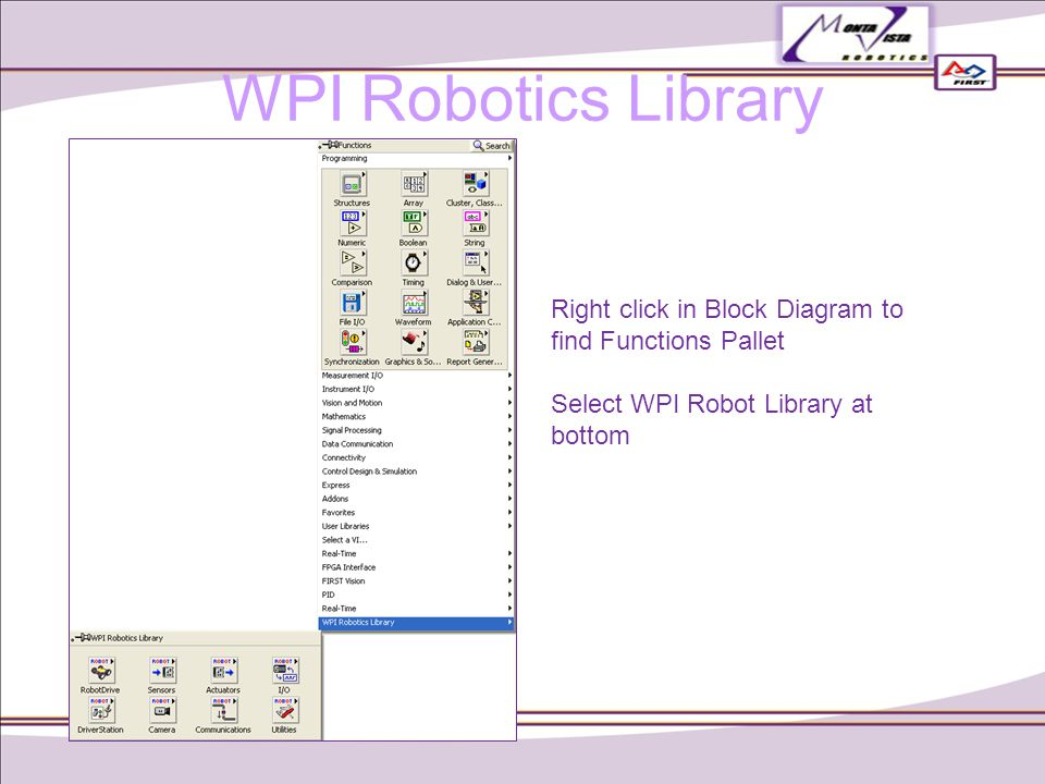 WPI Robotics Library Right click in Block Diagram to find Functions Pallet Select WPI Robot Library at bottom