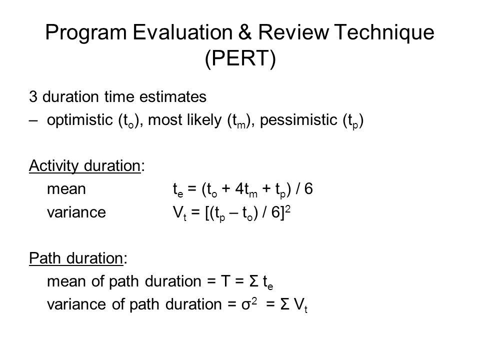 Program Evaluation & Review Technique (PERT) 3 duration time estimates –optimistic (t o ), most likely (t m ), pessimistic (t p ) Activity duration: m