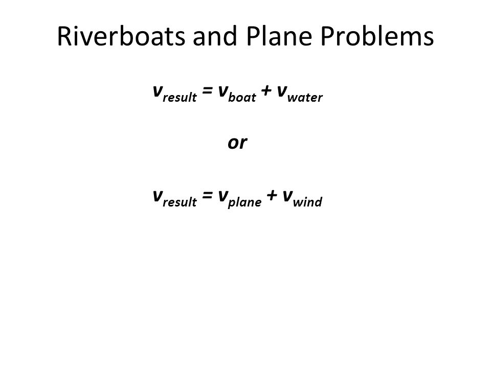 Riverboats and Plane Problems v result = v boat + v water or v result = v plane + v wind
