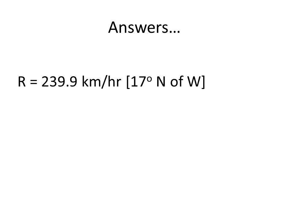 Answers… R = 239.9 km/hr [17 o N of W]