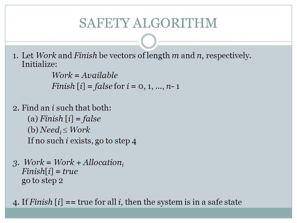 SAFETY ALGORITHM 1.Let Work and Finish be vectors of length m and n, respectively.