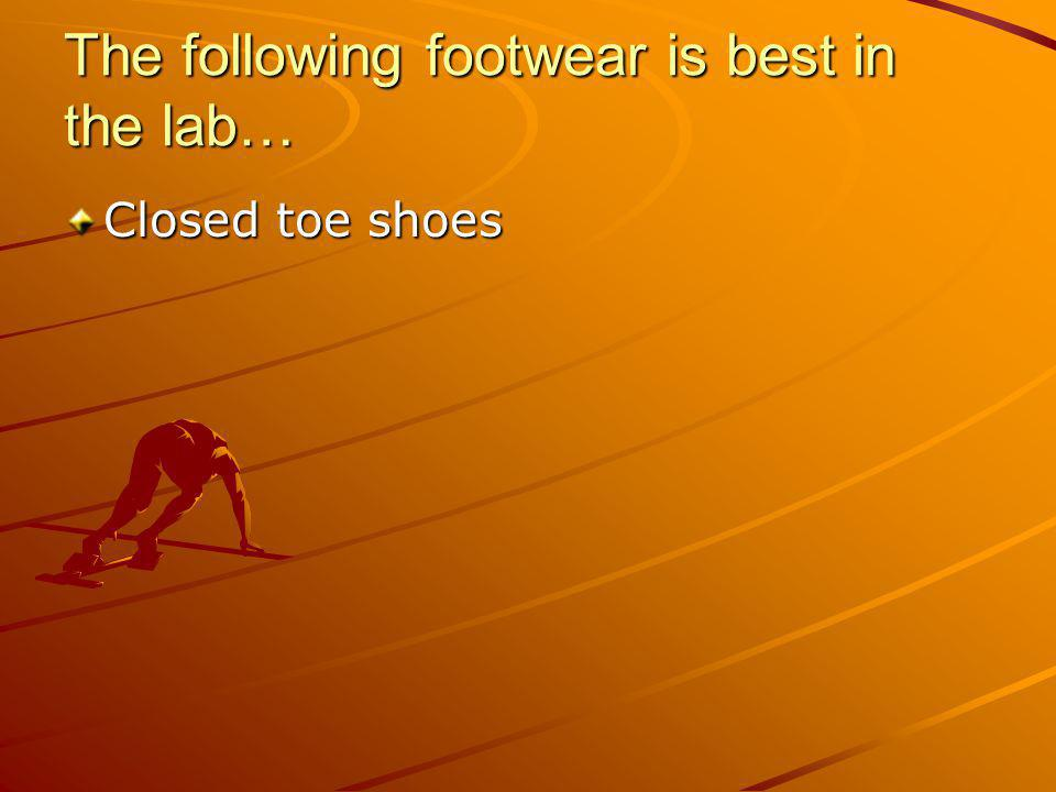 The following footwear is best in the lab… Closed toe shoes
