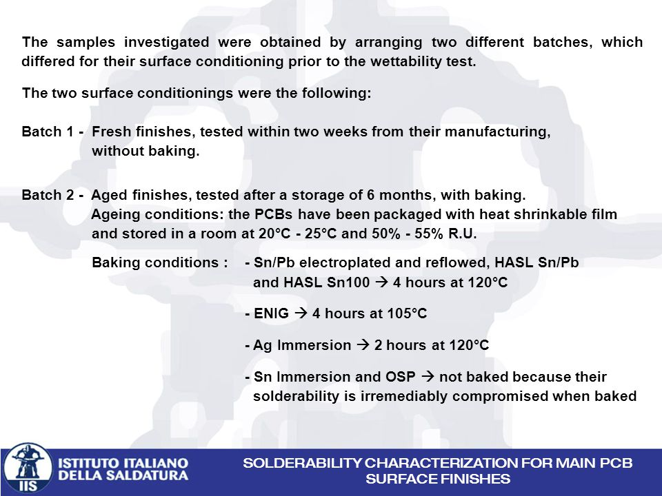 The samples investigated were obtained by arranging two different batches, which differed for their surface conditioning prior to the wettability test.