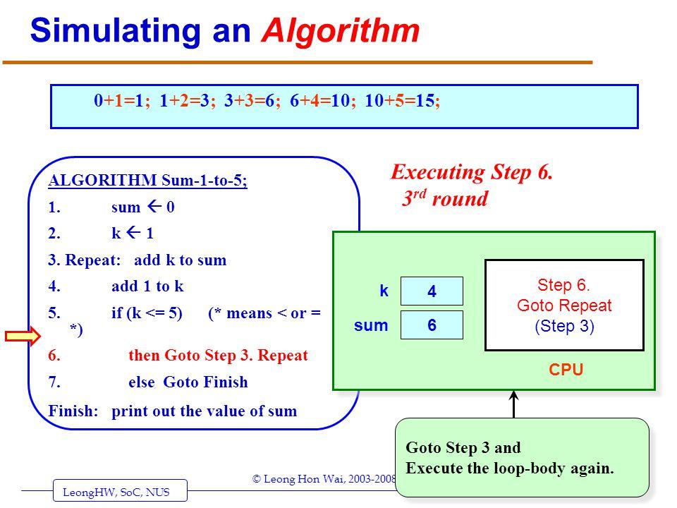 LeongHW, SoC, NUS (UIT2201: Algorithms) Page 17 © Leong Hon Wai, 2003-2008 Simulating an Algorithm ALGORITHM Sum-1-to-5; 1. sum 0 2. k 1 3. Repeat: ad