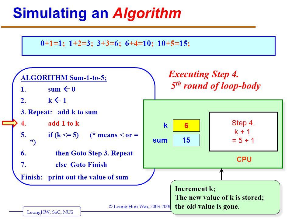 LeongHW, SoC, NUS (UIT2201: Algorithms) Page 23 © Leong Hon Wai, 2003-2008 Simulating an Algorithm ALGORITHM Sum-1-to-5; 1. sum 0 2. k 1 3. Repeat: ad