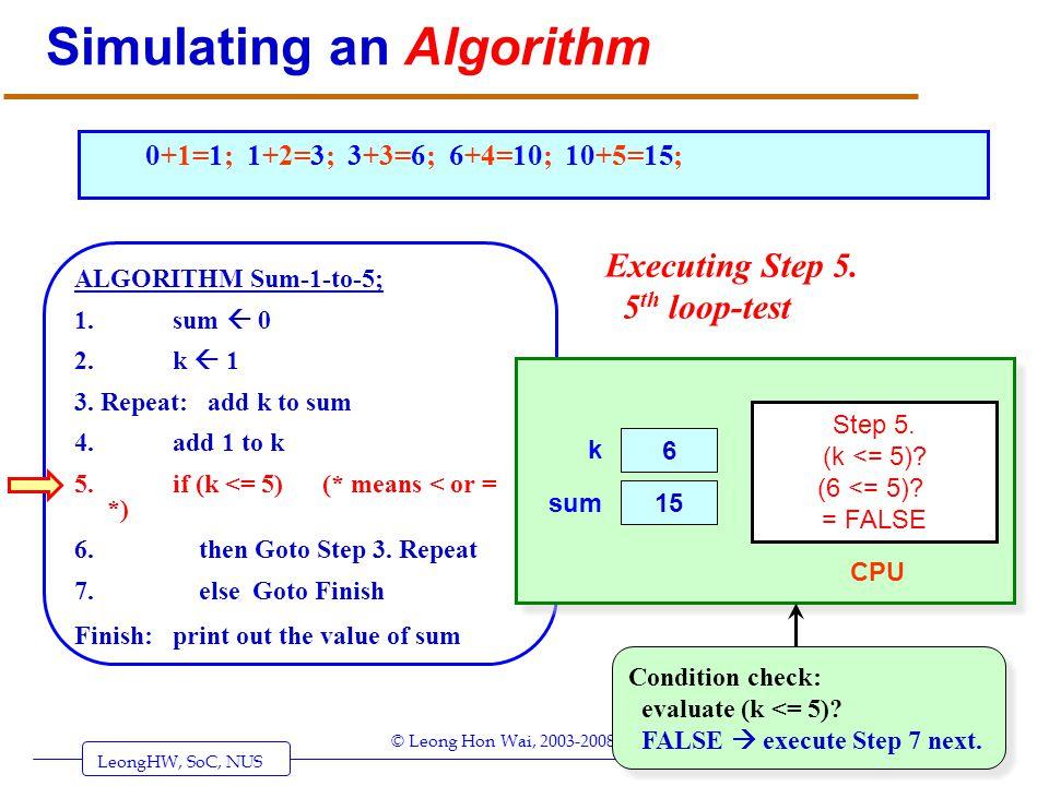 LeongHW, SoC, NUS (UIT2201: Algorithms) Page 24 © Leong Hon Wai, 2003-2008 Simulating an Algorithm ALGORITHM Sum-1-to-5; 1. sum 0 2. k 1 3. Repeat: ad