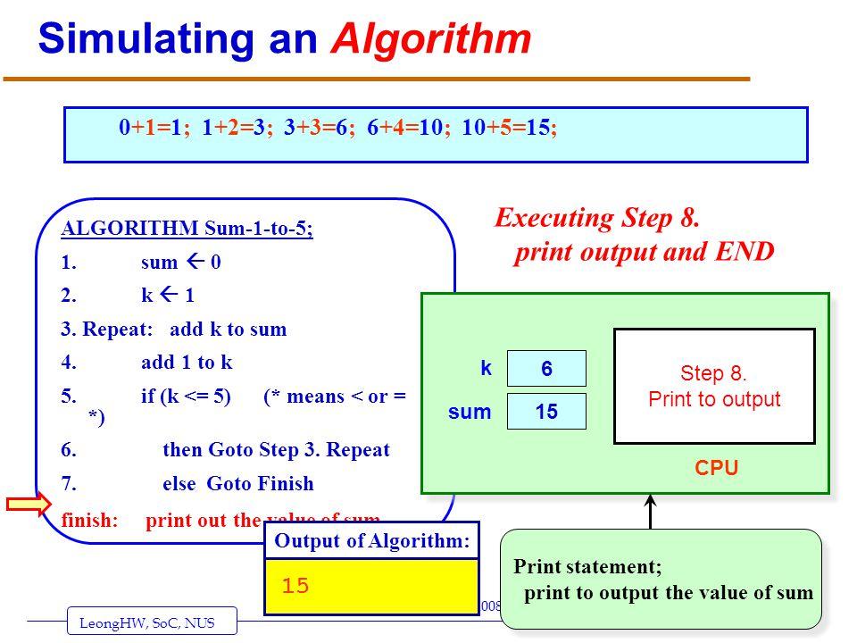 LeongHW, SoC, NUS (UIT2201: Algorithms) Page 26 © Leong Hon Wai, 2003-2008 Simulating an Algorithm ALGORITHM Sum-1-to-5; 1. sum 0 2. k 1 3. Repeat: ad