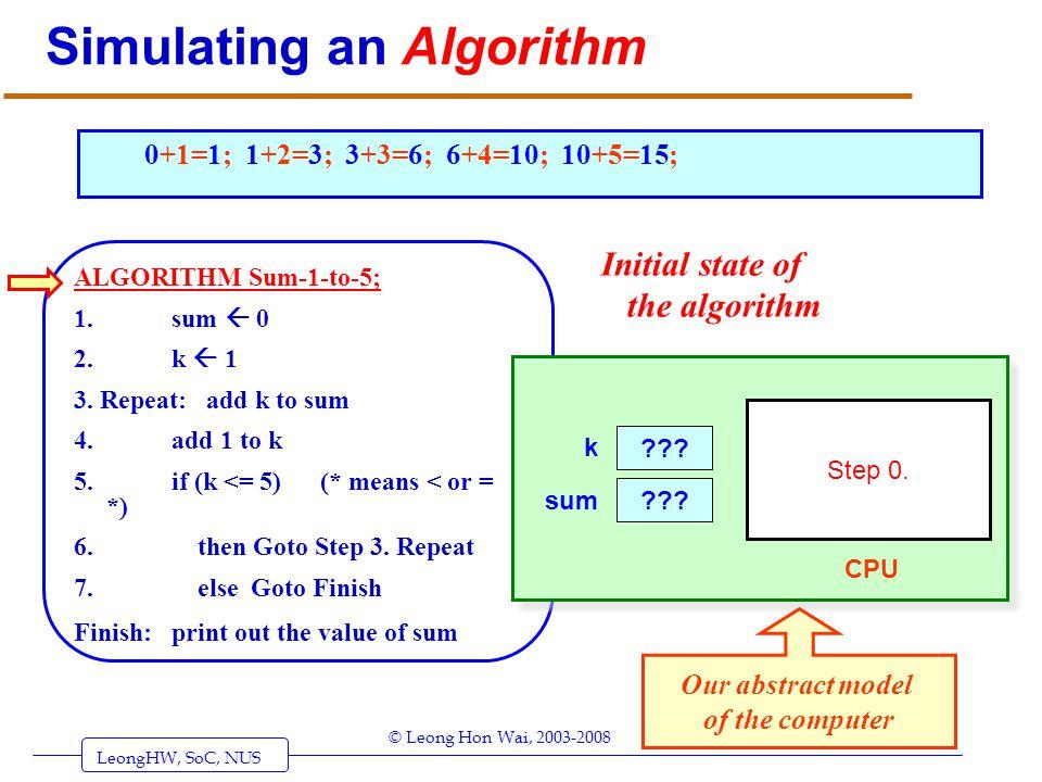 LeongHW, SoC, NUS (UIT2201: Algorithms) Page 3 © Leong Hon Wai, 2003-2008 Simulating an Algorithm ALGORITHM Sum-1-to-5; 1. sum 0 2. k 1 3. Repeat: add