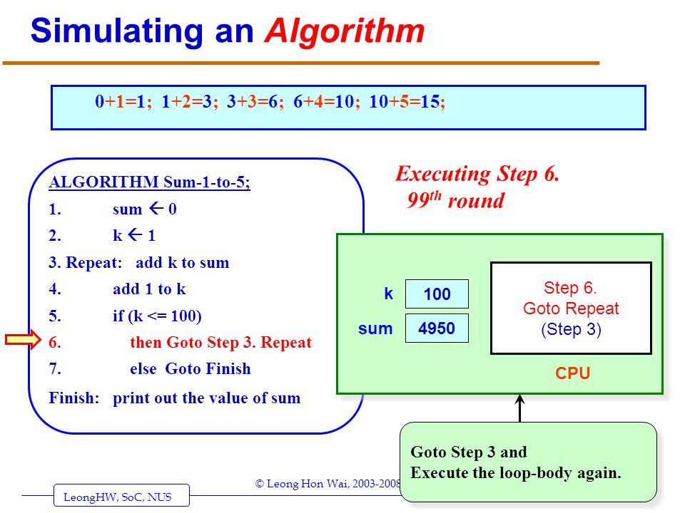 LeongHW, SoC, NUS (UIT2201: Algorithms) Page 30 © Leong Hon Wai, 2003-2008 Simulating an Algorithm ALGORITHM Sum-1-to-5; 1. sum 0 2. k 1 3. Repeat: ad
