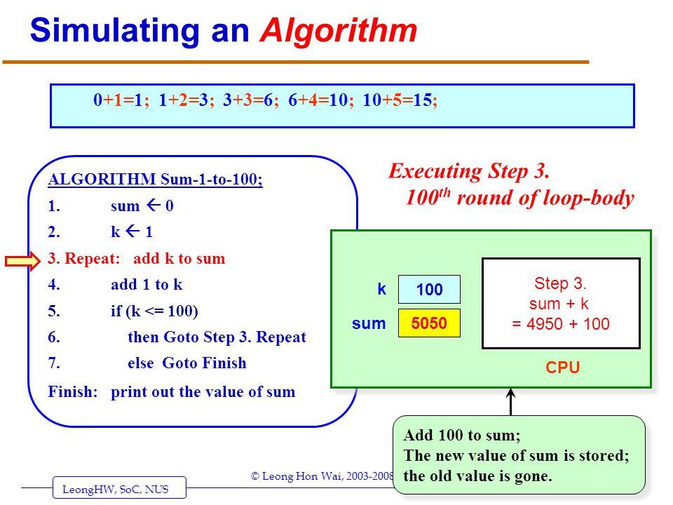 LeongHW, SoC, NUS (UIT2201: Algorithms) Page 31 © Leong Hon Wai, 2003-2008 Simulating an Algorithm ALGORITHM Sum-1-to-100; 1. sum 0 2. k 1 3. Repeat: