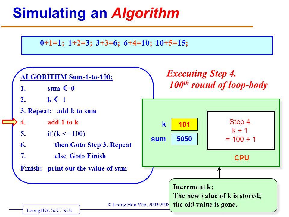 LeongHW, SoC, NUS (UIT2201: Algorithms) Page 32 © Leong Hon Wai, 2003-2008 Simulating an Algorithm ALGORITHM Sum-1-to-100; 1. sum 0 2. k 1 3. Repeat: