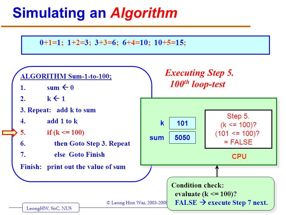 LeongHW, SoC, NUS (UIT2201: Algorithms) Page 33 © Leong Hon Wai, 2003-2008 Simulating an Algorithm ALGORITHM Sum-1-to-100; 1. sum 0 2. k 1 3. Repeat: