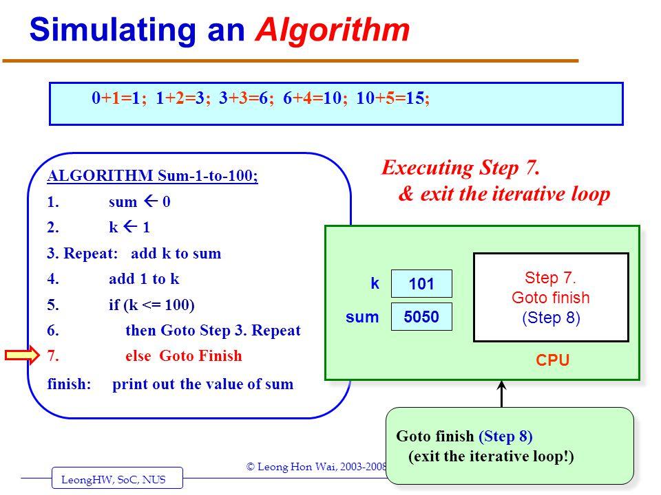 LeongHW, SoC, NUS (UIT2201: Algorithms) Page 34 © Leong Hon Wai, 2003-2008 Simulating an Algorithm ALGORITHM Sum-1-to-100; 1. sum 0 2. k 1 3. Repeat: