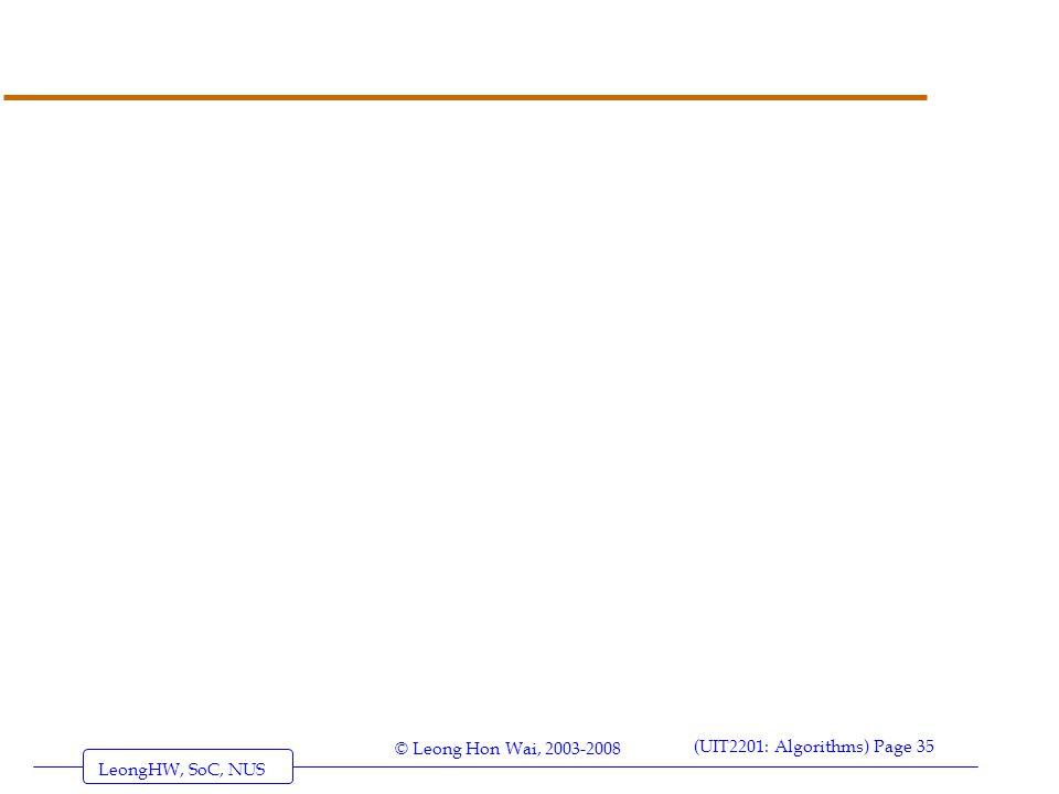 LeongHW, SoC, NUS (UIT2201: Algorithms) Page 35 © Leong Hon Wai, 2003-2008