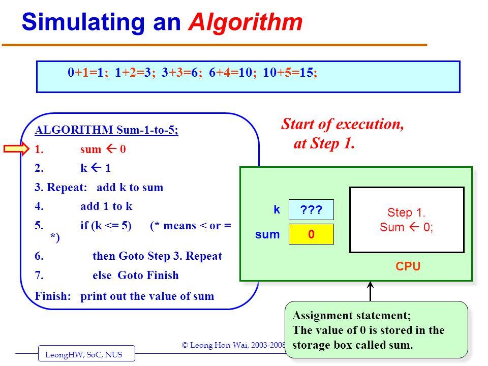 LeongHW, SoC, NUS (UIT2201: Algorithms) Page 4 © Leong Hon Wai, 2003-2008 Simulating an Algorithm ALGORITHM Sum-1-to-5; 1. sum 0 2. k 1 3. Repeat: add