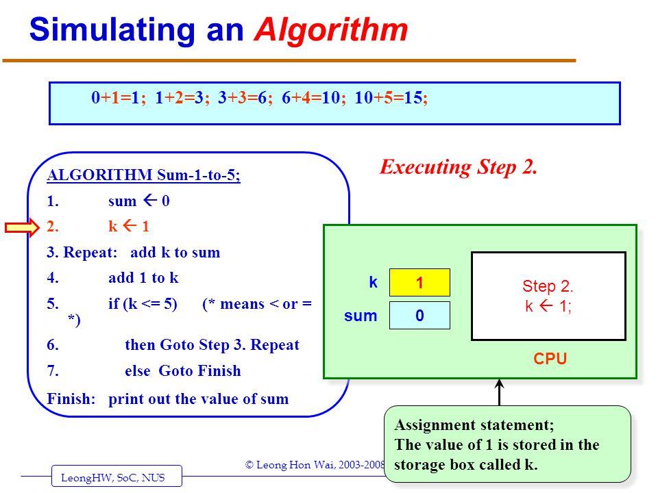 LeongHW, SoC, NUS (UIT2201: Algorithms) Page 5 © Leong Hon Wai, 2003-2008 Simulating an Algorithm ALGORITHM Sum-1-to-5; 1. sum 0 2. k 1 3. Repeat: add