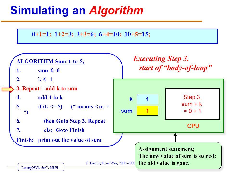 LeongHW, SoC, NUS (UIT2201: Algorithms) Page 6 © Leong Hon Wai, 2003-2008 Simulating an Algorithm ALGORITHM Sum-1-to-5; 1. sum 0 2. k 1 3. Repeat: add