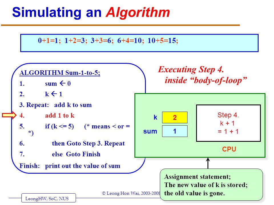 LeongHW, SoC, NUS (UIT2201: Algorithms) Page 7 © Leong Hon Wai, 2003-2008 Simulating an Algorithm ALGORITHM Sum-1-to-5; 1. sum 0 2. k 1 3. Repeat: add