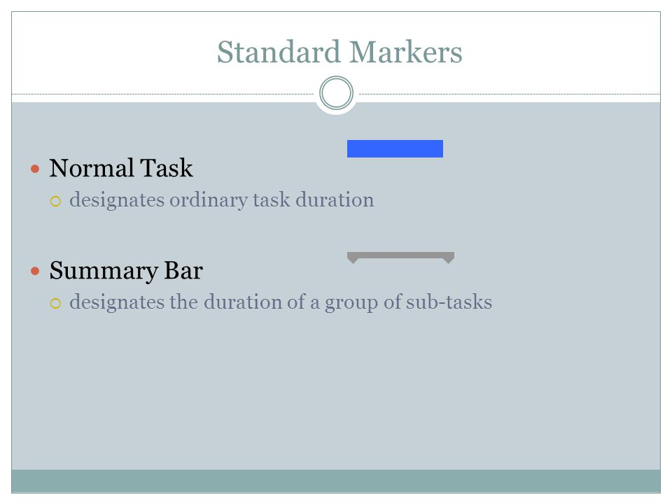 Standard Markers Normal Task designates ordinary task duration Summary Bar designates the duration of a group of sub-tasks