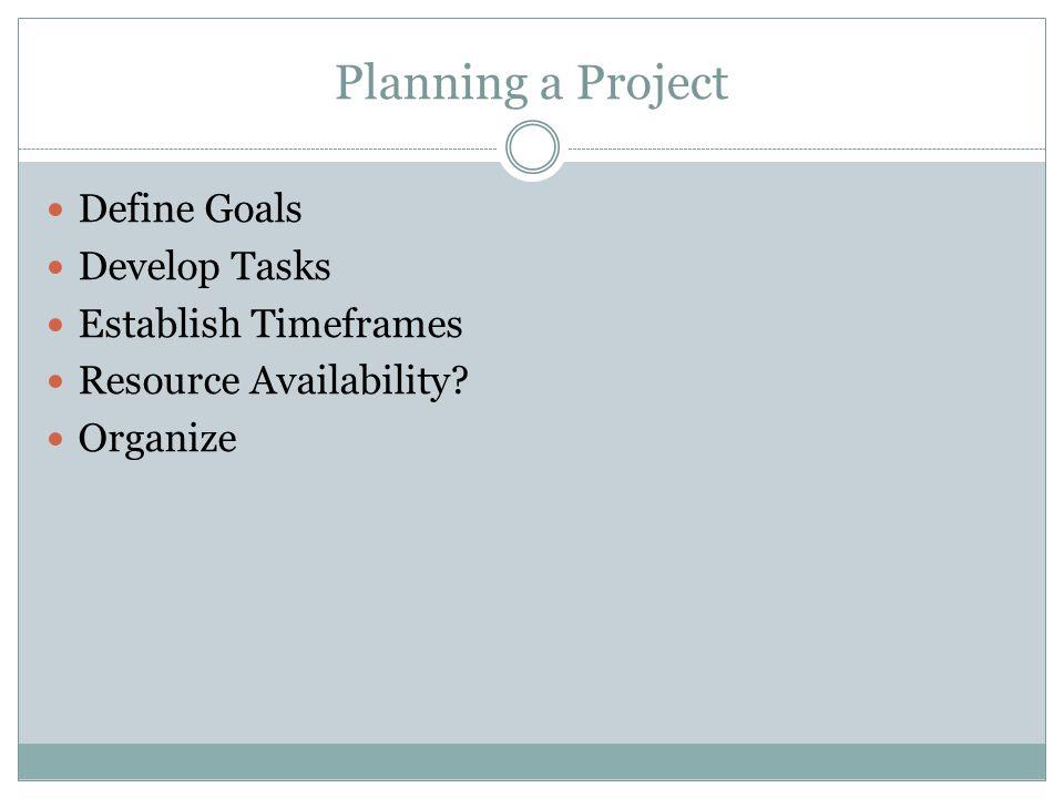 Planning a Project Define Goals Develop Tasks Establish Timeframes Resource Availability Organize