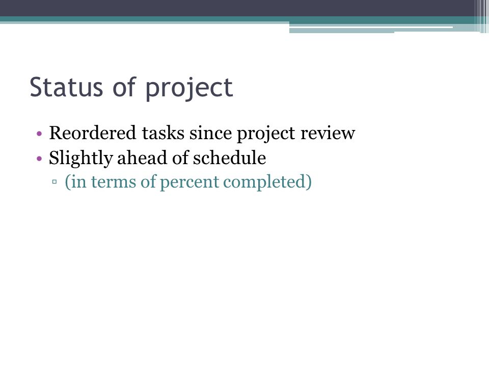 Status of project Reordered tasks since project review Slightly ahead of schedule (in terms of percent completed)