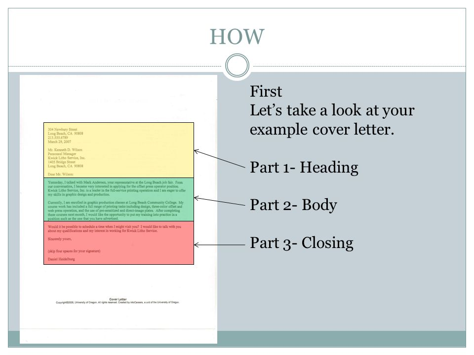 HOW First Lets take a look at your example cover letter. Part 1- Heading Part 2- Body Part 3- Closing