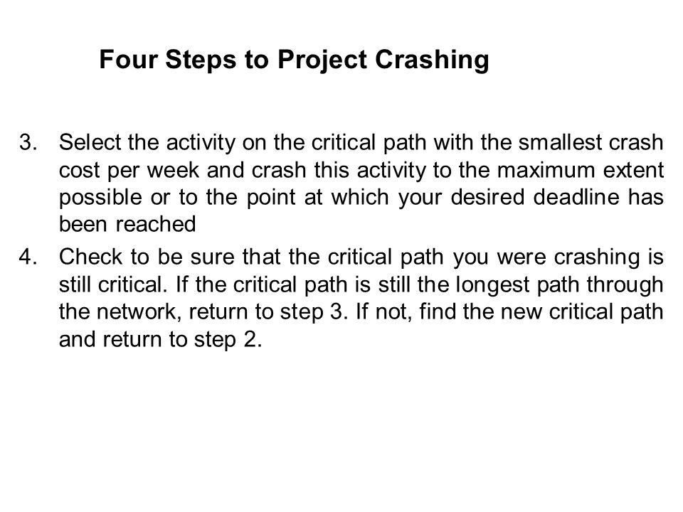 Four Steps to Project Crashing 3.Select the activity on the critical path with the smallest crash cost per week and crash this activity to the maximum