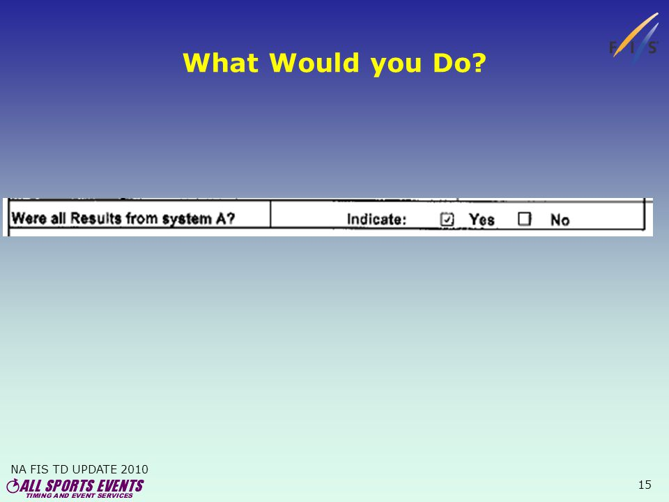 NA FIS TD UPDATE 2010 15 What Would you Do?