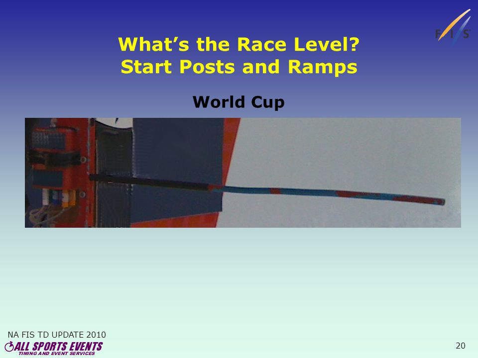 NA FIS TD UPDATE 2010 20 Whats the Race Level Start Posts and Ramps World Cup