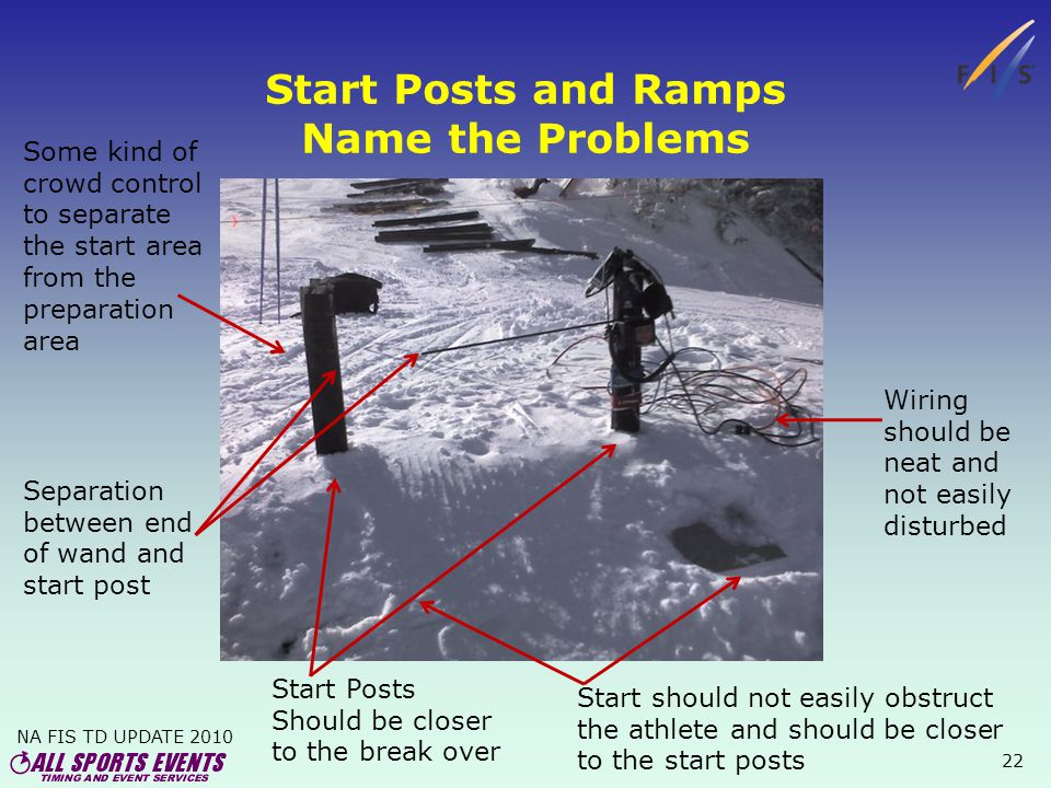 NA FIS TD UPDATE 2010 22 Start Posts and Ramps Name the Problems Wiring should be neat and not easily disturbed Start should not easily obstruct the athlete and should be closer to the start posts Start Posts Should be closer to the break over Some kind of crowd control to separate the start area from the preparation area Separation between end of wand and start post