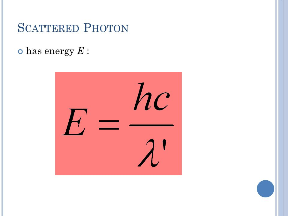 S CATTERED P HOTON has energy E :