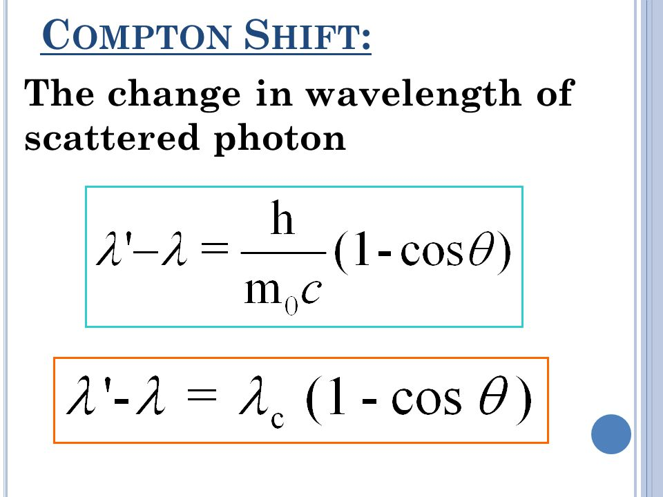 C OMPTON S HIFT : The change in wavelength of scattered photon