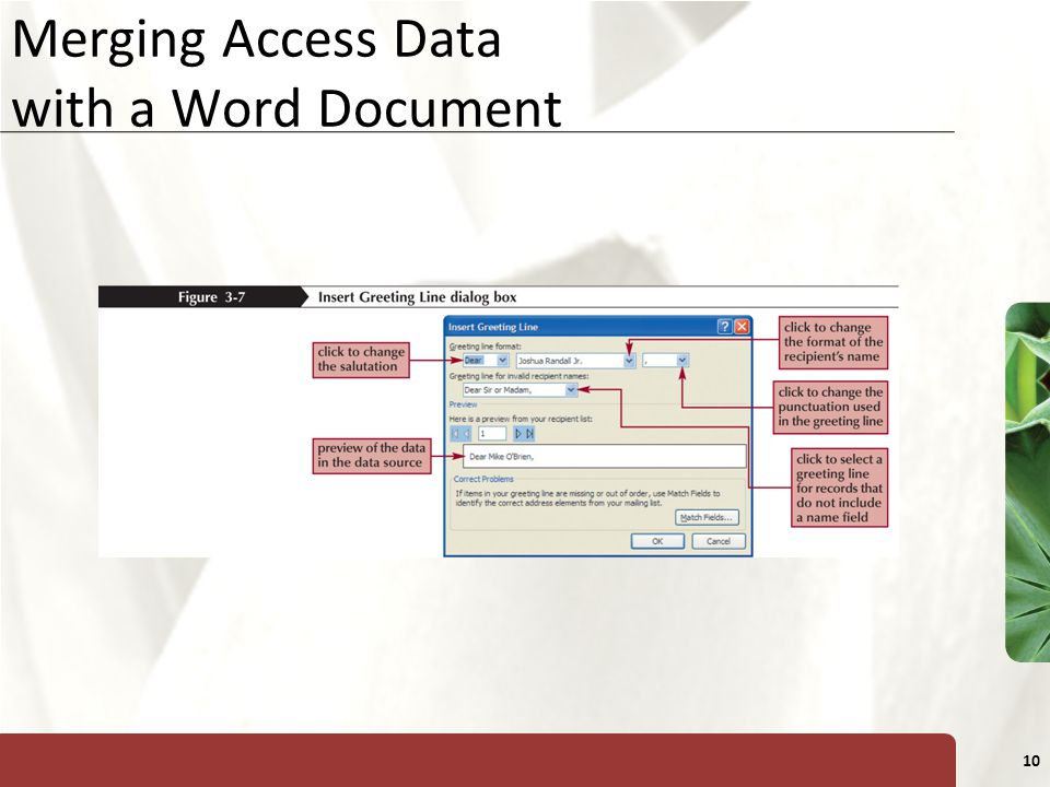 XP 10 Merging Access Data with a Word Document