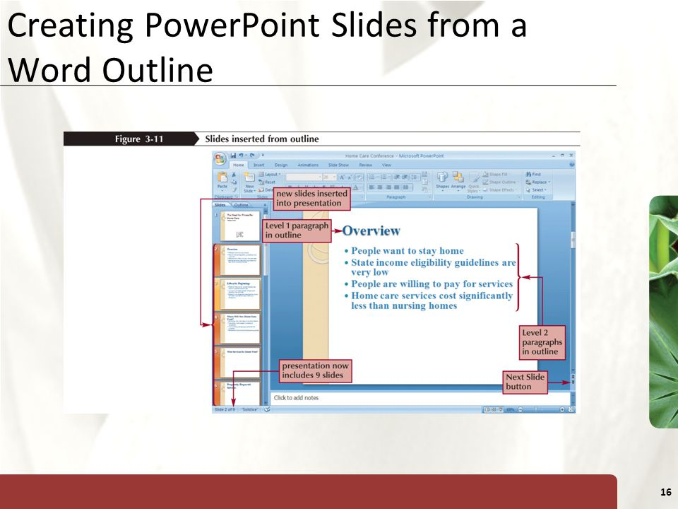 XP 16 Creating PowerPoint Slides from a Word Outline