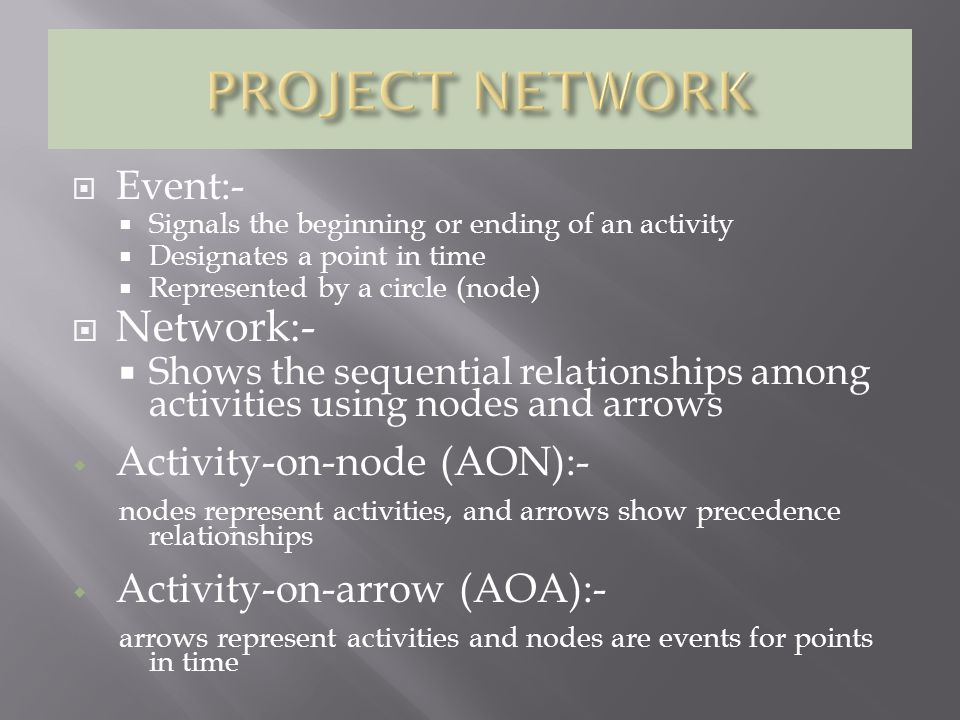 SITUATIONS IN NETWORK DIAGRAM:- A B C A must finish before either B or C can start.