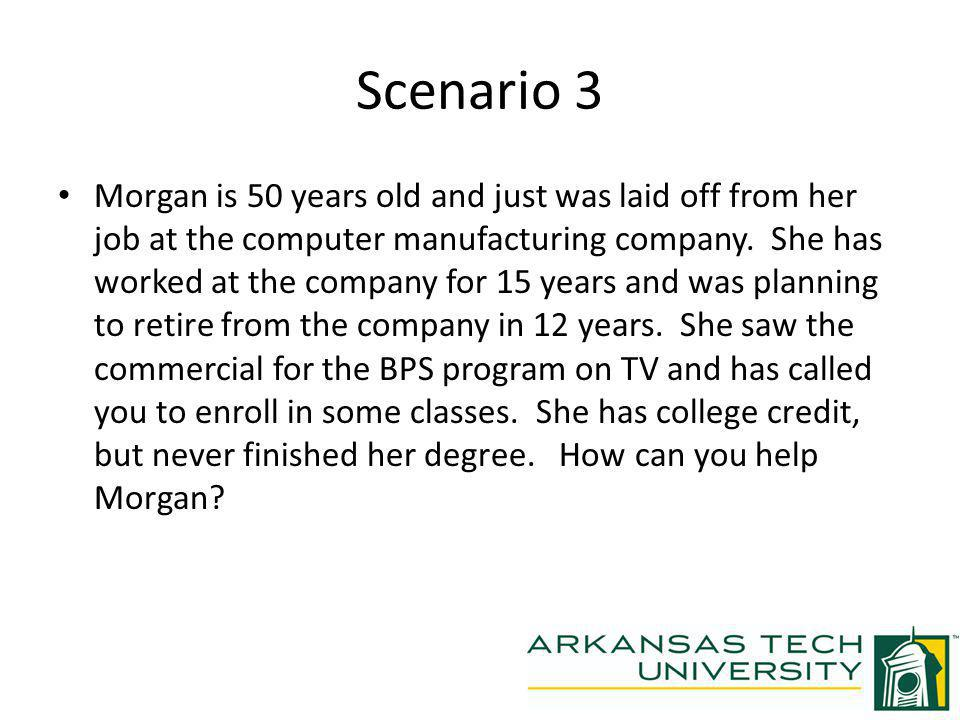 Scenario 3 Morgan is 50 years old and just was laid off from her job at the computer manufacturing company.