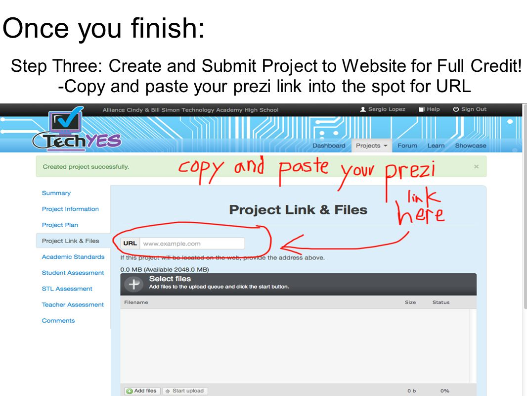Once you finish: Step Three: Create and Submit Project to Website for Full Credit.