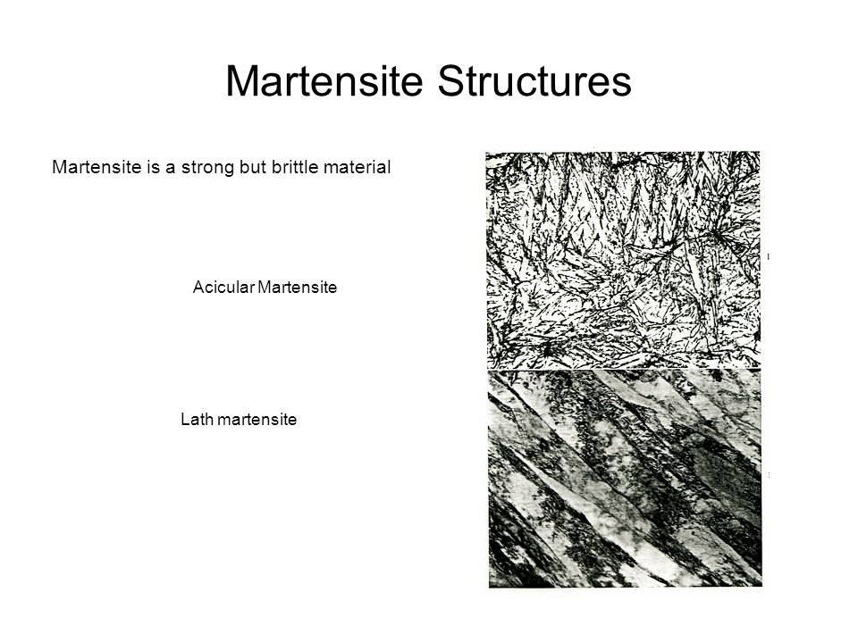 Martensite Amounts In the top figure, the sample was held until 1% transformation to Pearlite, 99% retained austenite, which on quenching Transformed to martensite.