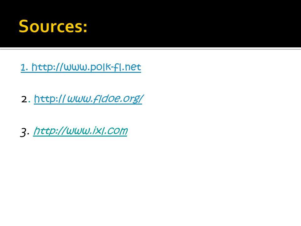 1. http://www.polk-fl.net 2. http://www.fldoe.org/ http://www.fldoe.org/ 3. http://www.ixl.com