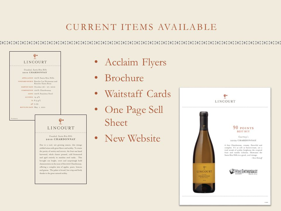 CURRENT ITEMS AVAILABLE Acclaim Flyers Brochure Waitstaff Cards One Page Sell Sheet New Website