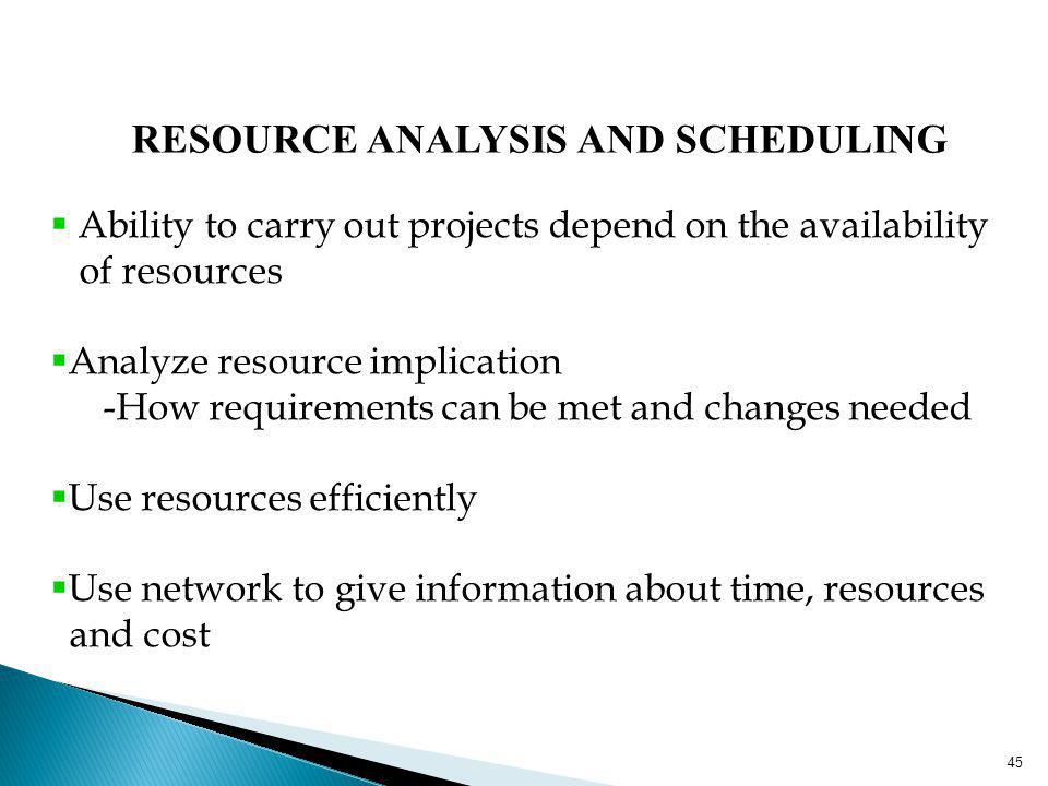 45 RESOURCE ANALYSIS AND SCHEDULING Ability to carry out projects depend on the availability of resources Analyze resource implication -How requiremen