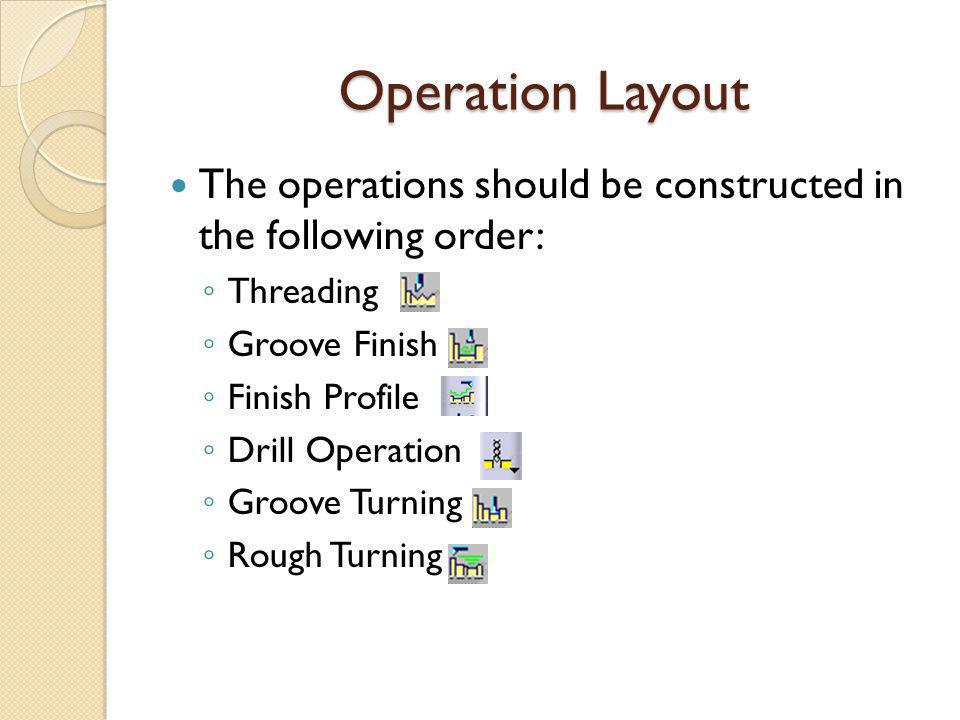 Operation Layout The operations should be constructed in the following order: Threading Groove Finish Finish Profile Drill Operation Groove Turning Rough Turning