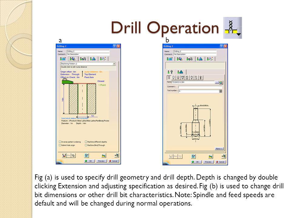 Drill Operation ab Fig (a) is used to specify drill geometry and drill depth.