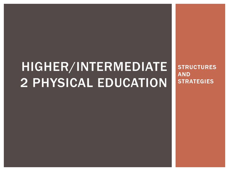STRUCTURES AND STRATEGIES HIGHER/INTERMEDIATE 2 PHYSICAL EDUCATION