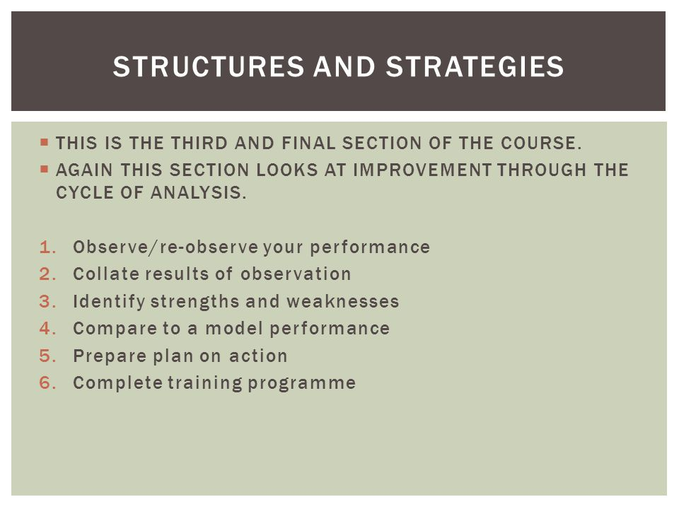 You must know the following: Definition of structure Definition of strategy An attacking and defending structure or strategy in detail: Roles and Relationships How it Works The Aim/Purpose Benefits/Limitations What it looks like KEY CONCEPT 1