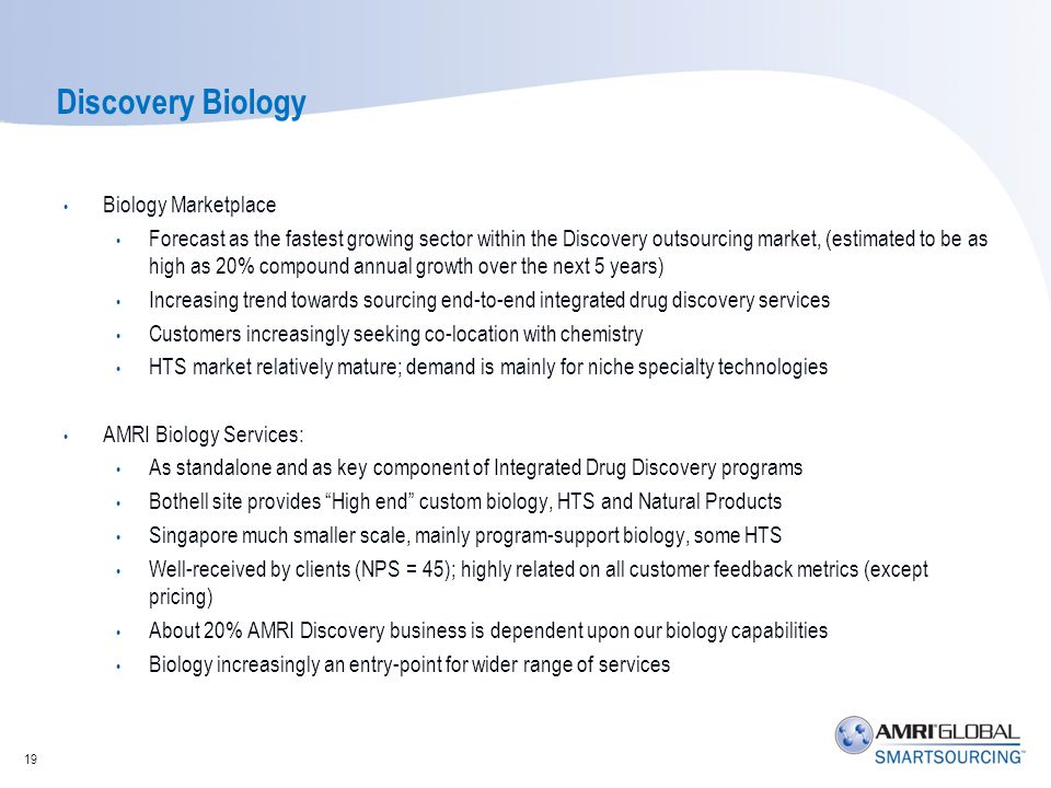 Discovery Biology Biology Marketplace Forecast as the fastest growing sector within the Discovery outsourcing market, (estimated to be as high as 20%
