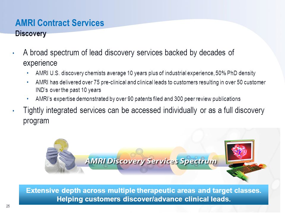 AMRI Contract Services Discovery A broad spectrum of lead discovery services backed by decades of experience AMRI U.S. discovery chemists average 10 y