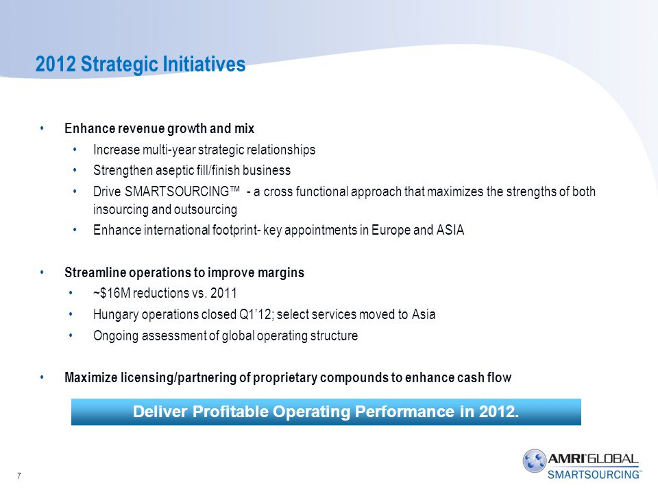 2012 Strategic Initiatives Enhance revenue growth and mix Increase multi-year strategic relationships Strengthen aseptic fill/finish business Drive SM