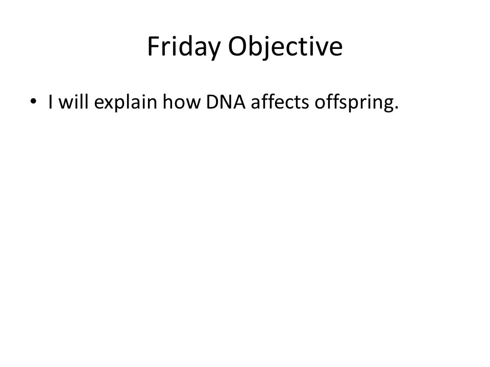 Friday Objective I will explain how DNA affects offspring.